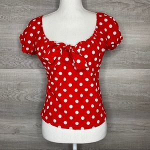 NTW Red & White Polka Dot Top Small Minnie Mouse